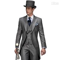 Wholesale Tuxedo Styles Morning - 2015 New Design Morning Style Peak Lapel Groom Tuxedos Groomsmen Men's Wedding Suits Best Man Suits (Jacket+Pants+Vest)
