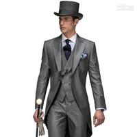 Wholesale Vest Lapels Morning - 2015 New Design Morning Style Peak Lapel Groom Tuxedos Groomsmen Men's Wedding Suits Best Man Suits (Jacket+Pants+Vest)