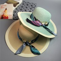 Wholesale Decorated Sun Hats - 2016 New sun shade hat holiday ribbon brooch decorated big wave of large brimmed hat folding beach hat female tide