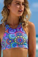 Wholesale Young Girls Bikinis - ummer styles Neon colors Triangle thong crop top hang high neck bikini set women swiwear swimsuit Young girl bathing suit