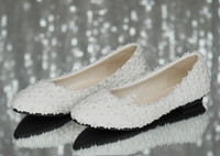 Wholesale Sexy Floral Heels - Full size Stock 2016 Beautiful Sexy White Satin Lace Wedding Shoes Flats Bridal Shoes