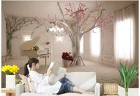 Wholesale chinese wedding stickers resale online - 3d wallpaper custom photo non woven mural wall sticker d tree romantic dream piano painting picture d wall room murals wallpaper