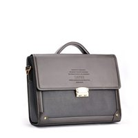 Wholesale High Quality Briefcases - Wholesale-Men's High Quality Brand Business Briefcase Handbags With Password Lock Horizontal Style Fashion PU Leather Shoulder Bags