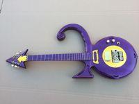 Wholesale Metallic Hardware - Unique Guitar Rare Shaped Guitar Metallic Purple Prince Symbol Electric Guitar Floyd Rose Tremolo Bridge Gold Hardware Top Selling