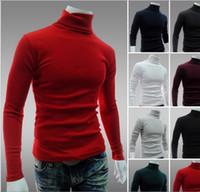 korece ince sığan erkek gömleği toptan satış-Balıkçı yaka Kazak Erkekler Katı Renk Uzun Kollu Kazak Kısa Erkek Astar Gömlek Kazak Erkekler Için Ücretsiz Nakliye Kore Stil Slim Fit