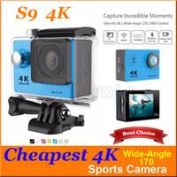 Wholesale Hdmi Lens - Cheapest Ultra HD camera S9 4K Wifi 30M Waterproof 2 Inch HD Screen 170 Degree Lens HDMI Helmet Cam Action Camera 30pcs