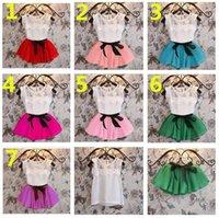 Wholesale Ems Girls Dresses - DHL EMS 7 Color Girl Lace Stripe Bowknot Dress Suits Summer Chiffon Lace Cotton T-shirt + Short skirt 2pcs Suit Baby Clothes K7081