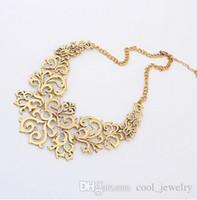 Wholesale Necklace Flowers Neon - Summer Style Gold Sliver Hollow out Flower Collar Choke Chain Neon Bib Statement Necklace collar babero gargantilla For Women