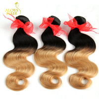 Wholesale European Two Tone Hair - Ombre Hair Extensions Two Tone 1b 27 Blonde Ombre Brazilian Body Wave Hair Peruvian Malaysian Indian Human Hair Weave Bundles Double Weft