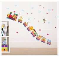 Wholesale Cartoon Train Wall Sticker - 50*70cm Wall Stickers DIY Art Decal Removeable Wallpaper Mural Sticker for Kids Bedroom Bathroom Living Room SK7064 Cute Trains Animals
