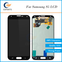 Wholesale New Galaxy S5 - OEM New LCD Display for Samsung Galaxy S5 LCD Assembly i9600 G900F G900H G900M G9001 G900R Touch Screen Digitizer Top High Quality LCD