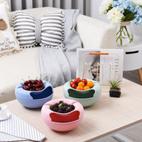 Wholesale Dishes Decor - Creative Lazy Fruit Dish Snacks Nut Melon Seeds Bowl Double Layer Plastic Candy Plate Peels Shells Storage Tray Desk Home Decor