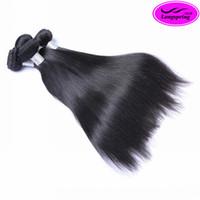 naturales de seda al por mayor-¡¡¡Venta de liquidación!!! El pelo humano recto de seda negro natural de las extensiones del pelo humano de 3pcs por la porción teje