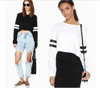 Wholesale Stripe Long Sweater Slim - Autumn Women Sweaters O Neck Stripe Splicing Female Long Sleeve Sweatshirts Short T Shirt Pullovers OOA3241