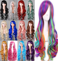 Wholesale Wig Hot Pink Long - free shipping charming beautiful new Best Hot Sell! Lady 80cm Long Curly Wigs Fashion Cosplay Costume Hair Anime Full Wavy Party Wig