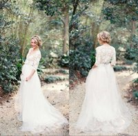 Wholesale Neckline Detail - Modest 2017 Romantic Lace Wedding Dresses Bohemian with Half Sleeves Plunging Neckline Beading Sash Tulle A Line Wedding Gowns