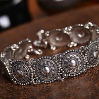 kadınlar kolye boyun toptan satış-Pretty Women Vintage Etnik Boho Gümüş Yaka Gerdanlık Oyma Boncuk Boyun Kolye