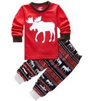 Wholesale Christmas Nightwear Children - Reindeer Christmas Pyjama Boys Girls Xmas Outfits Nightwear Sleepwear 2017 Hot Long Sleeve Pajamas Set Children Kids Pjs
