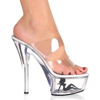 Wholesale Summer High Top Sandals - Top Selling Sexy Vogue Clear Women Sandal 6 Inch High Heel Slipper 15cm Platform Appliques Pretty Girl Party Crystal Shoes
