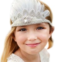 Wholesale Girls Hair Feather White - white Sparking Feather Baby Headband Kids Bohemian Crown Boho Chic Headband baby girl pearl rhinestone headband Pixie ribbons Crown princess