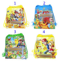 Wholesale Turtles School Bag - Poke go Pikachu drawstring Bags 4 style Free DHL Children cartoon Jeni turtle Sylveon Poke Ball Backpacks non-woven fabrics School Bags B001