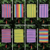 Wholesale paper holiday crafts - Portable Lantern Holiday Party Decor Articles Stripe Folding Paper Lanterns Outdoor Decoration Arts And Crafts Multi Color 21 5fl C R