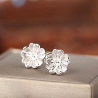 Wholesale 8mm Pearl Earring Woman - Real Sterling Silver 925 Plated White Gold Semi Mount Flower Women Stud Earrings for Pearl or Round Bead 6mm 7mm 8mm Fine Jewelry
