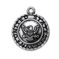 Wholesale Wholesale State Shaped Necklaces - My Shape Military Style Antique Silver Plated Alloy United States Navy Symbol Charm Pendant for Necklaces Bracelets