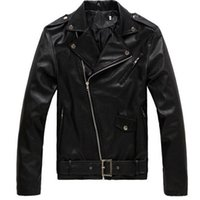Wholesale Motorcycle Jackets Leather Classic - FEELING WELL Western Style Mens Slim Fit Sleeve Vintage Classic Black Faux Leather Motorcycle Jacket Rider Bomber Coats