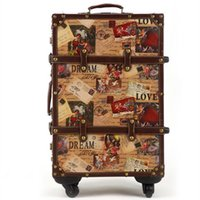 Wholesale Cabin Luggage - 14 20 24inch suitcase HardShell PU leather+Wood 4 Wheels A set Travel Trolley Painting Cabin Luggage Retro board chassis lockbox