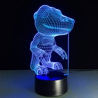 2016 Dinosaur 3D Illusion optique Lampe Night Light DC 5V USB AA Batterie en gros Dropshipping Livraison gratuite Retail Box