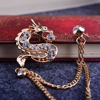 terno animal coreano venda por atacado-Coreano moda diamante broche de jóias broche animal homens e mulheres terno dragão terno colarinho broche pin broche cadeia feminina