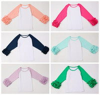 Wholesale Cute Wholesale Girls Tshirts - girls ruffle sleeve t shirts 2016 baby autumn fall clothes toddler long sleeve cute t-shirts big girl cotton boutique tshirts wholesale tees
