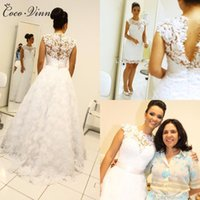 Wholesale Embroidery Bohemian - C.V New Detechable Tail Bohemian Lace Wedding Dresses Two In One A line Appliques Sweep Train Plus Size Vintage Wedding Gowns W0199