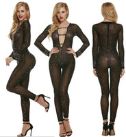 Wholesale Star Flesh - 2016 Sexy Perspective Tight Jumpsuit Black Flesh Pink Bodycon Fashion Clubwear High End Custom All Over Sky Star Body Drill Skinny Jumpsuit