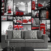 Wholesale Black White 3d Wallpaper - 3D TV sofa background wall living room murals seamless wall cloth retro nostalgic England black and white building photo wallpaper