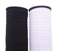 rollos de banda elástica al por mayor-6MM 8MM Banda de correas elástica de color blanco / negro para bricolaje pantalones Prenda de costura 5 metros / rollo