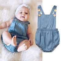 99e25c0f0 Wholesale sleeveless denim jumpsuit online - Ins Baby Denim Romper Baby  clothing Unisex Thin style Light
