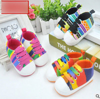 Wholesale Purple Baby Crib - Baby rainbow shoes baby girls boys colorful stripe soft crib prewalker sole shoes kids sports anti-slip canvas sneaker shoes R0106