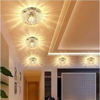 Wholesale Mirrors Ceiling - Corridor Mirror Ceiling Lamp 3W 5W Aisle Veranda Lighting Down Crystal Mordern Surface Mounted LED Ceiling Lights CCA8304 10pcs