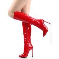 schwarze lackleder winterstiefel großhandel-Rot glänzendes Lackleder PU Kniestiefel für Frauen Sexy High Heel 12cm Schwarze Sohlen Italienisches Design Handgefertigte Qualität Spitz Kniestiefel 624-1