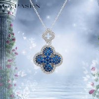 Wholesale Cz Blue Pendant - LA PASION Brand Classic CZ Crystal Clover Blue Necklace Luxury Pendant Necklace Accessories for Woman Free Shipping Platinum Plated