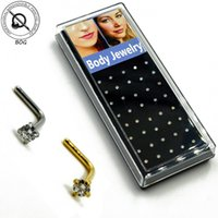 Wholesale L Shaped Nose Ring - 40 Pieces Nose Stud Piercing Anodized Gold L Shape Nose Ring Prong Set 2mm,3mm Zircon Nose Jewelry 20g 18g
