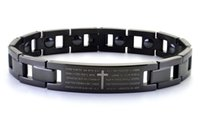 Wholesale Titanium Bracelet Germanium Magnet - Black cross bracelet with Europe and the United States scripture couple bracelet, titanium steel magnet germanium stone care bracelet free s