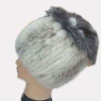 Wholesale Handknitted Hats - 2015 Ladies Winter Real Mink Fur Hat Handknitted Beanies Mink Fur Ball with Silver Fox Tops Elegant Luxury WomenHeadwear Caps LQ11074 2016
