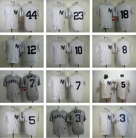 Wholesale Anti Che - Men's #3 Ruth #7 Mantle #5 #8 #10 #12 #18 #23 #44 New York Yankees Throwback Baseball jerseys White Strips Grey Top Quality jerseys Che