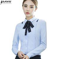 20d4a97a8b4a3 New elegant women bow blouses fashion autumn formal slim long sleeve  chiffon shirt office ladies plus size work wear tops