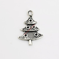 Wholesale Christmas Craft Charms - 20pcs Antique Silver Plated Christmas Tree Charm Pendants for Bracelet Necklace Jewelry Making DIY Handmade Craft 25x17mm