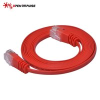 Wholesale Red Network Cable - 1.1mm thcikness RJ45 Cat6 Gigabit Flat Ethernet Network LAN UTP Cable Patch Lead 2m 7ft Red Color