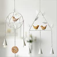 glocken windspiel großhandel-Handgemachte DIY Wind Chime Dreieck Runde Form Aeolian Bells Vogel Metall Windbell Für Zuhause Wohnzimmer Dekoration 8 5hl B